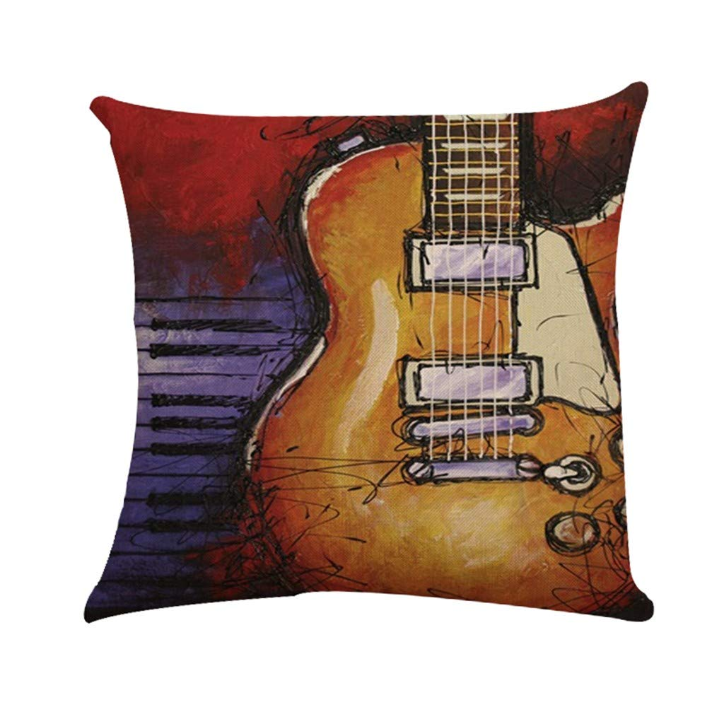 Cyhulu Quote Throw Pillow Cushion Cover, Realistic Instruments Print Square Pillow Case for Home Living Room Bedroom Sofa Art Decoration, Guitar, Saxophone, Piano (E, One size)