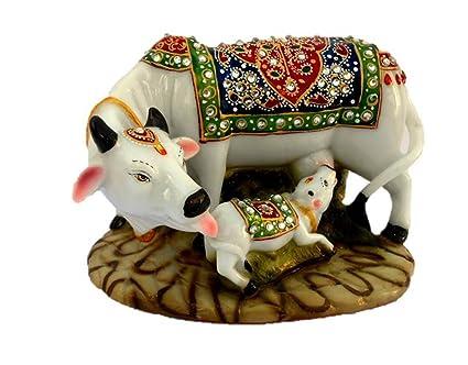 Ganpati Moorti Art Handicraftgiftgallery Decorative Marble dust /Polyresin Cow and Calf Big Statue/Idol, 6-inch(Multicolour)