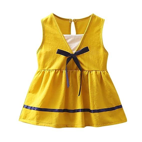 Italily Neonato Bambino Piccolo Bambino Ragazze Vestito Bowknot Senza  Maniche Principessa Casuale V-Collo Vestito. Scorri sopra l immagine per  ingrandirla 9e62e66968a