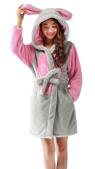 Nicetage Ladies Hooded Dressing Gown Robe Warm Cute Animal Housecoat ...