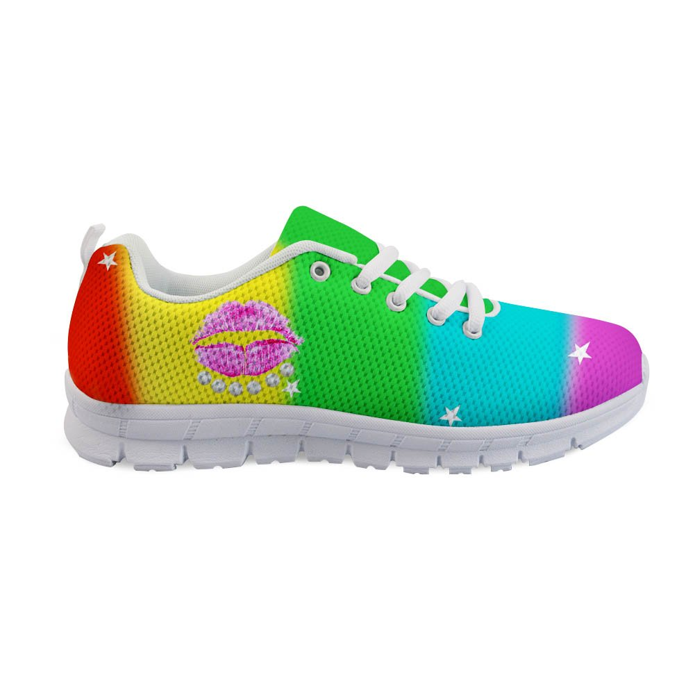 Santiro Pattern Stylish Girls Cool Graffiti Comfortable Athletic Lightweight Walking Floral Printed Shoes