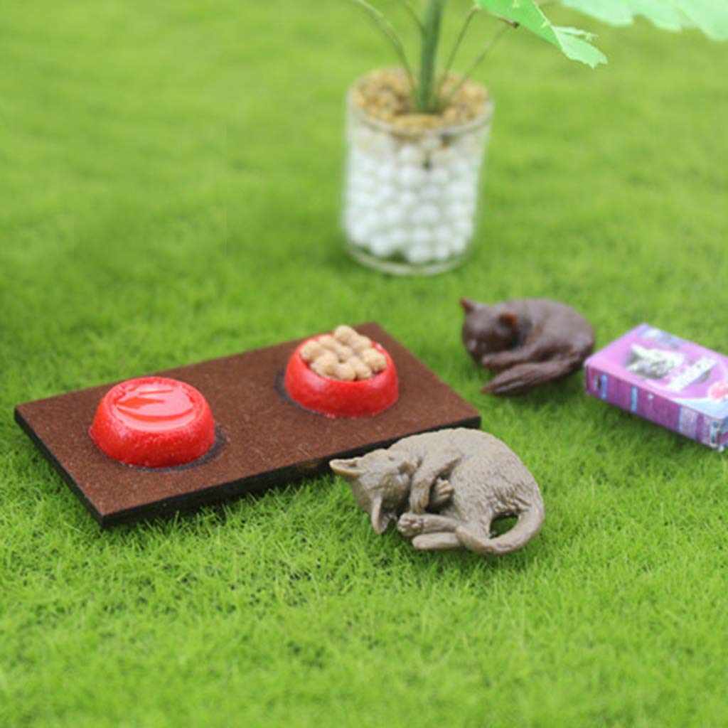 1//12 Outdoor Micro Landscape Decor Miniature Dog Food Bowl Pet Accessory