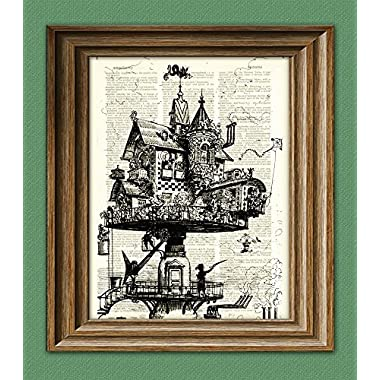 Dictionary Art Print - Steampunk Aerial House Illustration - Printed on Recycled Vintage Dictionary Paper - 8.5 x11  - Mixed Media Poster on Vintage Dictionary Page