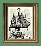 Dictionary Art Print - Steampunk Aerial House Illustration - Printed on Recycled Vintage Dictionary Paper - 8.5