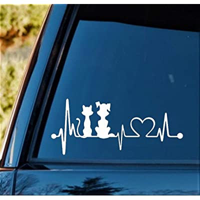 "Bluegrass Decals Dog Cat My Kids Heartbeat Lifeline Monitor Decal Sticker (White, 7.5""): Automotive"