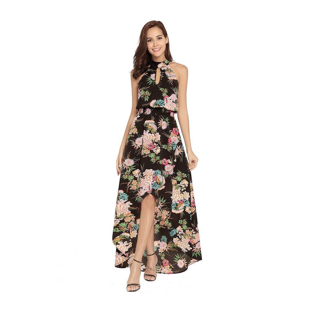 9fe861eb88137 FXFAN Women's Dresses 2018 Summer New Bohemian Dress Halter Sexy ...