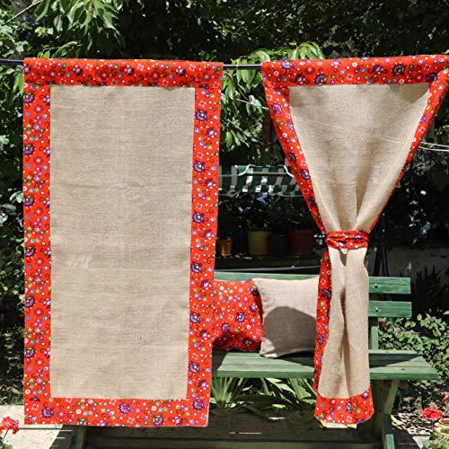 (Orange Curtains Burlap Curtain Panels Embellished With Floral Orange Fabric Vintage Floral Curtains, Shabby Chic Burlap Curtains Jute Curtains Custom Curtains 84'' 96'' 108''120''Extra Long Curtains)