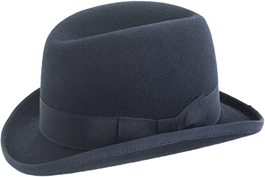 Mens Traditional Wool Grey Homburg Hat