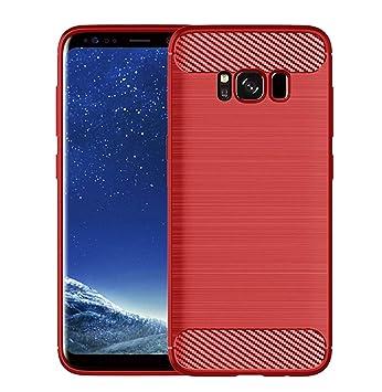 Kit Me Out ES® Galaxy S8 Funda Ligera Gel TPU Efecto Fibra De Carbono Cepillado Protectora Resistente Carcasa para Samsung Galaxy S8 - Rojo
