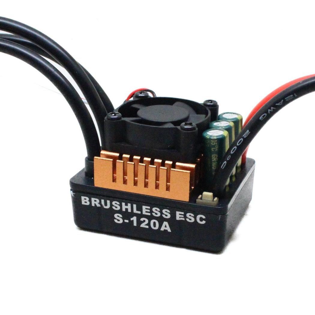 Alluing 120A ESC Brushless Waterproof Sensorless Speed Controller for 1/8 RC Car Startup (black)
