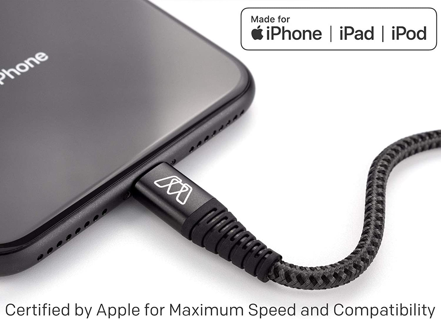 8 Max XS MOS Strike USB-C to Lightning Fast Charge Cable for iPhone 3 ft.- Supports USB-C Power Delivery iPhone 11 X 11 Pro