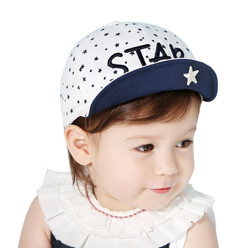TiTCool Baby Sun Hat Embroidery Stars Print Soft Brim flang Baseball Cap (White)