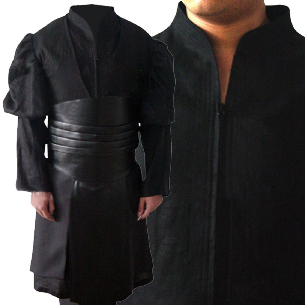 Allten Men's Cosplay Costume Black Linen Cotton Halloween Uniform Tunic Robe XXL by Allten (Image #4)