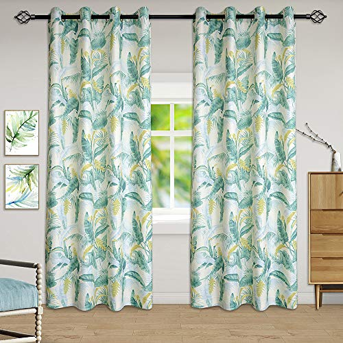 Tinfun Green Leaves Country Style Pattern Thermal Insulated Energy Efficient Blankout Curtains for Living Room,Grommet Window Treatment Drapes(2 Panels),W52×L84 Inch