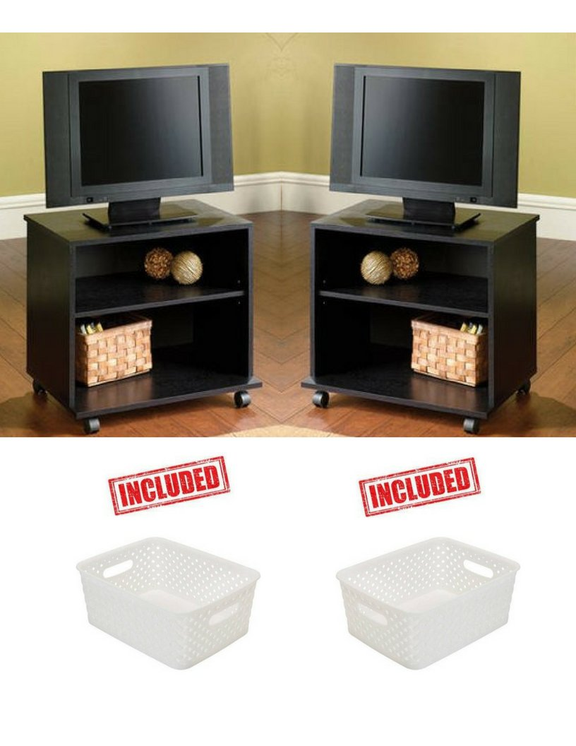 Pack of 2 Mainstays TV Cart for TVs up to 23-1/2'' with Set of 2 White Basket Weave Included!