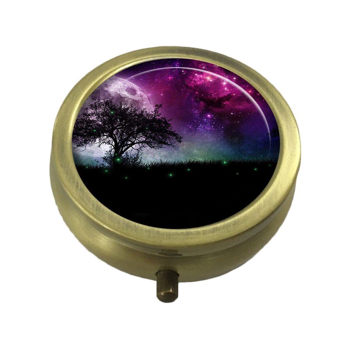 Guojew Natural Custom Fashion Round Pill Box Tablet Holder Pocket Purse Organizer Case Decoration Box