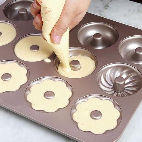 TAMUME Acero al carbono Rosquilla Molde Pan con 12 cavidades, para Hacer 12 Tamaño Completo Donuts en 3 Diferentes Rosquilla Formularios: Amazon.es: Hogar