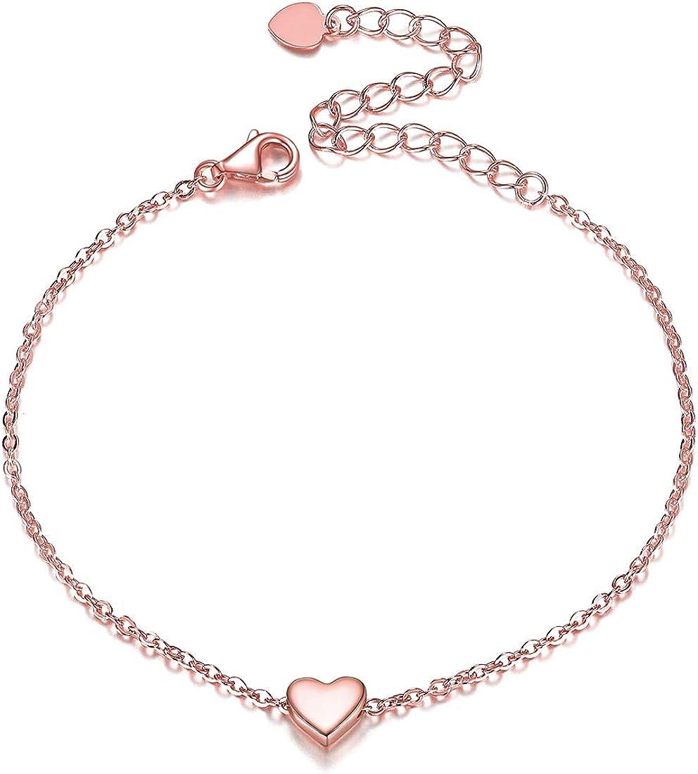 ChicSilver Corazón Pulsera Moderna Plata de Ley 925 Pulseras para Mujeres y Muchachas Pulsera con Abalorios Decorativos Cadenas Delgadas y Extensibles Accesorios para Muñecas Luna/Estrell/Loto