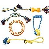 Slowton Juguetes para perros, 5 piezas juego de cuerda de juguete, cachorro de dientes juguetes de lanzamiento y juego de tir