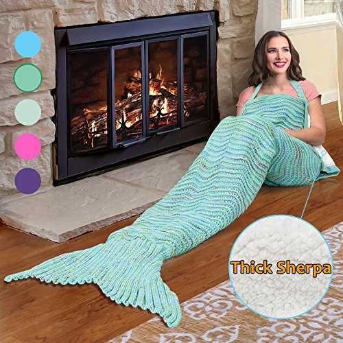 Mermaid Tail Sherpa Blanket, Super Soft Warm Sherpa Lined Knit Mermaids with Non-slip Neck Strap, Best Gift for Girls Women Adult Teens Birthday Holiday By Catalonia Green