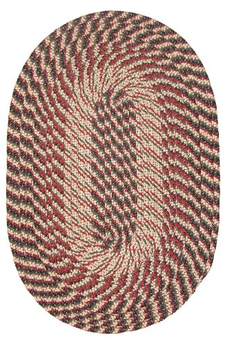 Constitution Rugs Plymouth Braided Rug in Black Olive Red 5 x 8 Oval