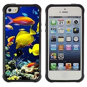 "Pulsar iFace Series Tpu silicona Carcasa Funda Case para Apple iPhone SE / iPhone 5 / iPhone 5S , Submarino de Arrecifes de Coral Buceo Peces"""