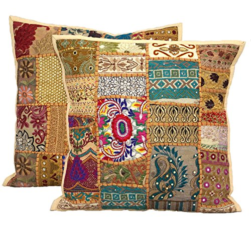 "17x17"" Handmade Sari Patchwork Pillow Cover , Ethnic Embroidered Cushion Cover 2pc Set Indian Patchwork Cushion Pillow"