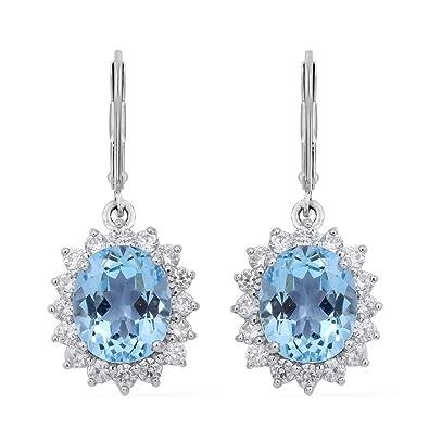 TJC Women Rhodium Plated Sterling Silver Blue Topaz and White Zircon Drop/Dangle Earrings 3IU6Mrec