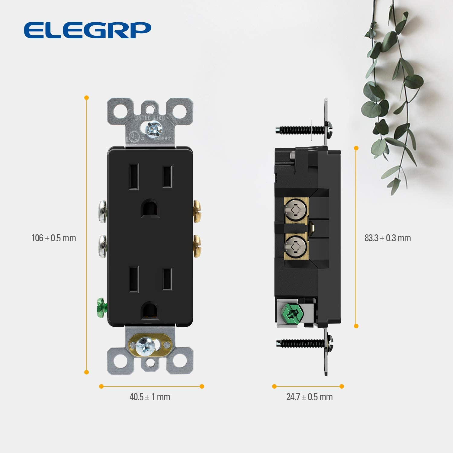 ELEGRP DecoratorReceptacle, 15A 125V Standard Electrical Wall Outlet, 2 Pole 3 Wire, NEMA 5-15R, Self-Grounding Residential Grade Straight Blade Decorative Duplex Outlet, UL (Glossy Black, 10 Pack) - -