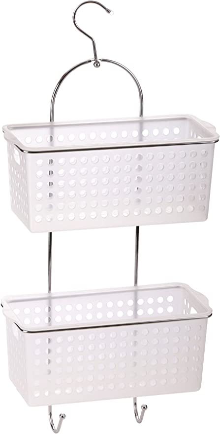 Plastic Hanging Basket Place Saving for Bathroom Kitchen with Hooks Shower Caddy