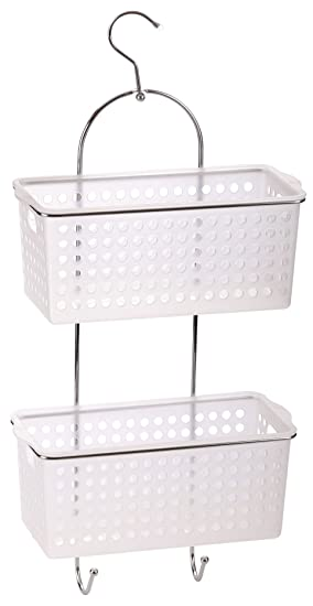 2 Tier Hanging Bath Shower Caddy With Hook Plastic Basket Organiser Rack  Tidy By O2H