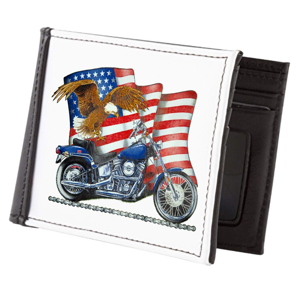 Royal Lion Mens Wallet Billfold Motorcycle Eagle and US Flag