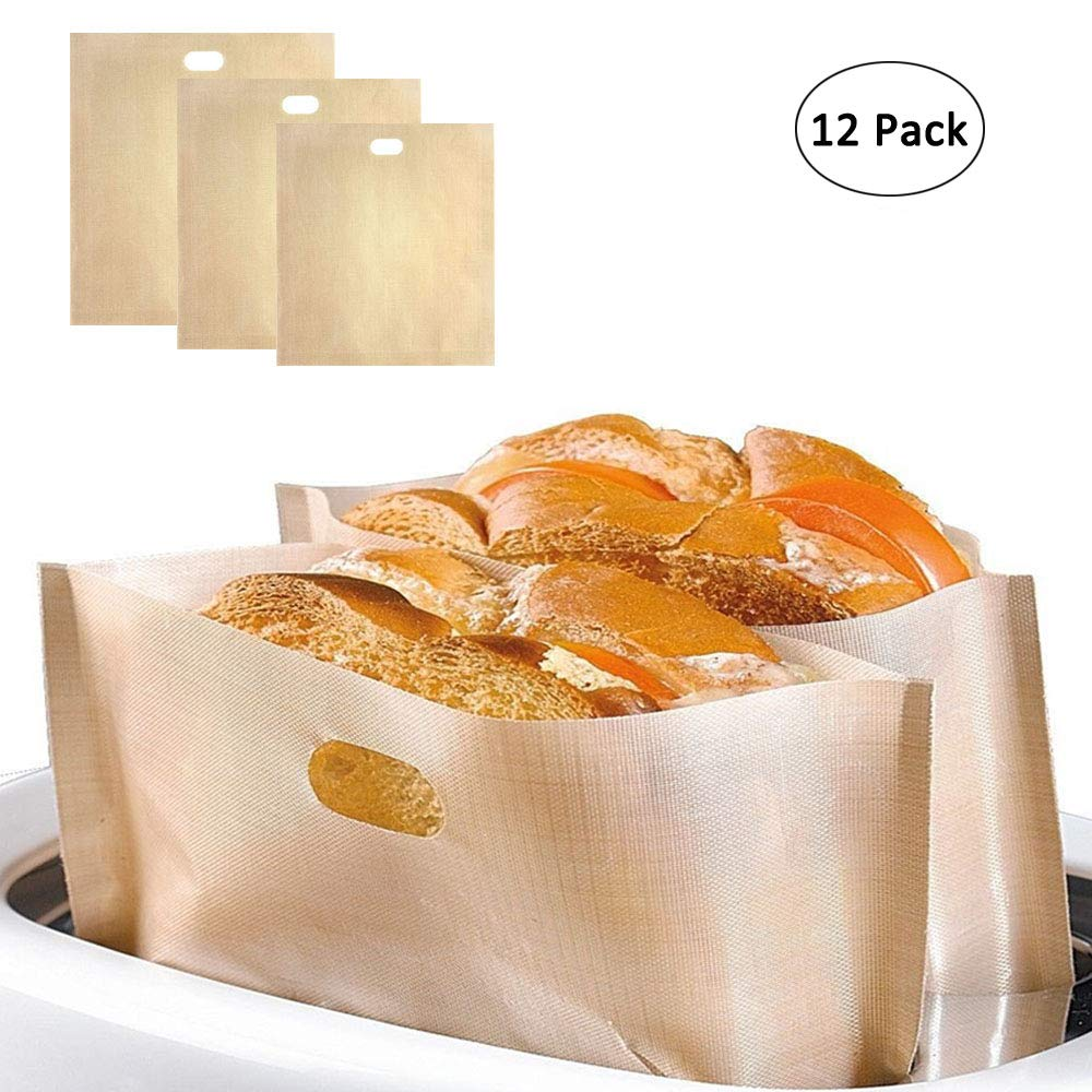12 Pack Toaster Bags, Oneup Non-stick Reusable Grilled Cheese Sandwich Toaster Bags, 3 Size Cooking Toaster Oven Bags for Pastries, Pizza Slices, Chicken Nuggets by Oneup