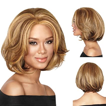 Amazon Com Wig Women S Short Curly Hair Gold Fashion Fluffy Short