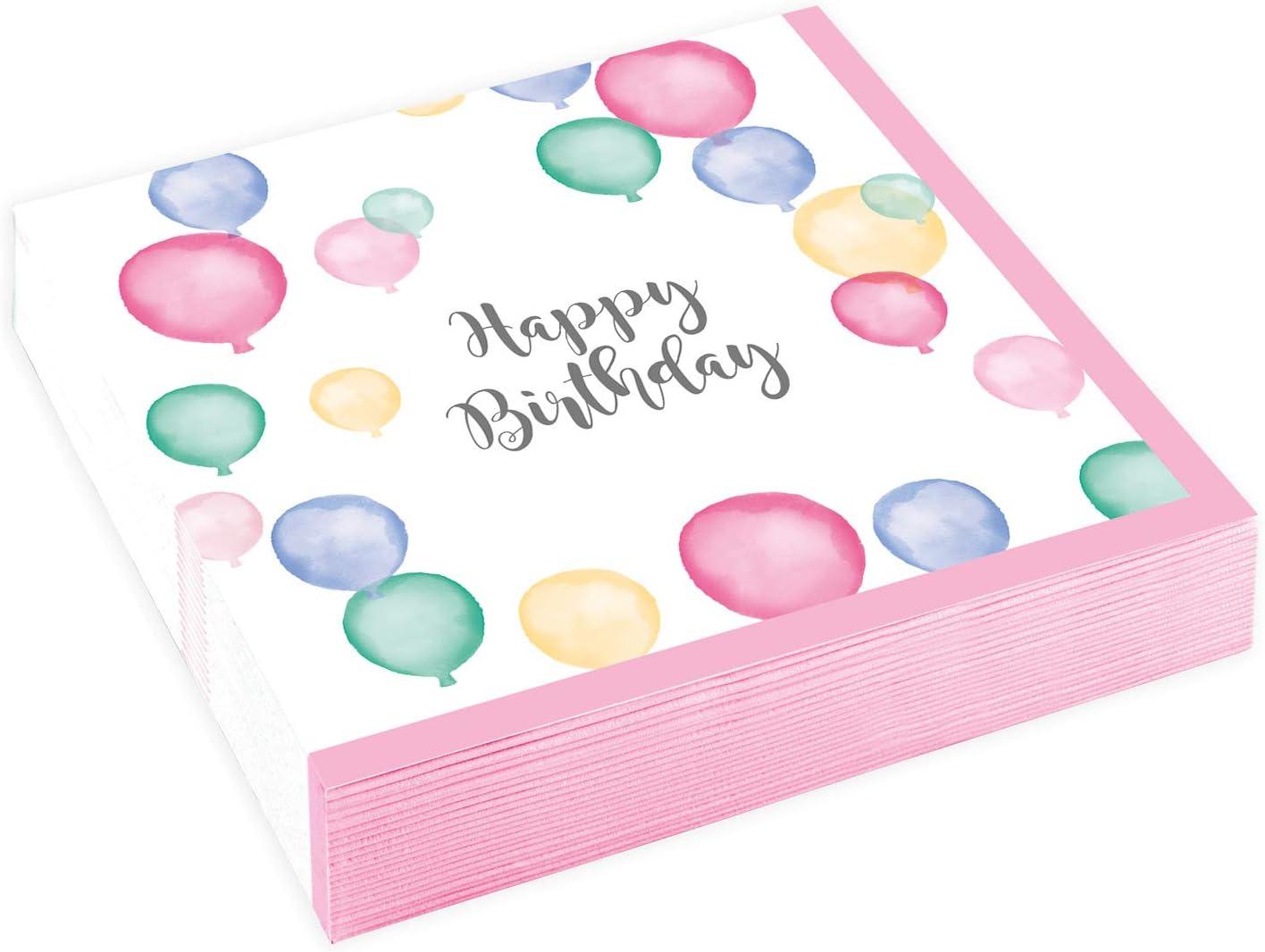 amscan 9903863 20 Servietten Happy Birthday Pastel