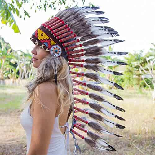 313f67b4 Novum Crafts Feather Headdress | Native American Indian Inspired | Choose  Color