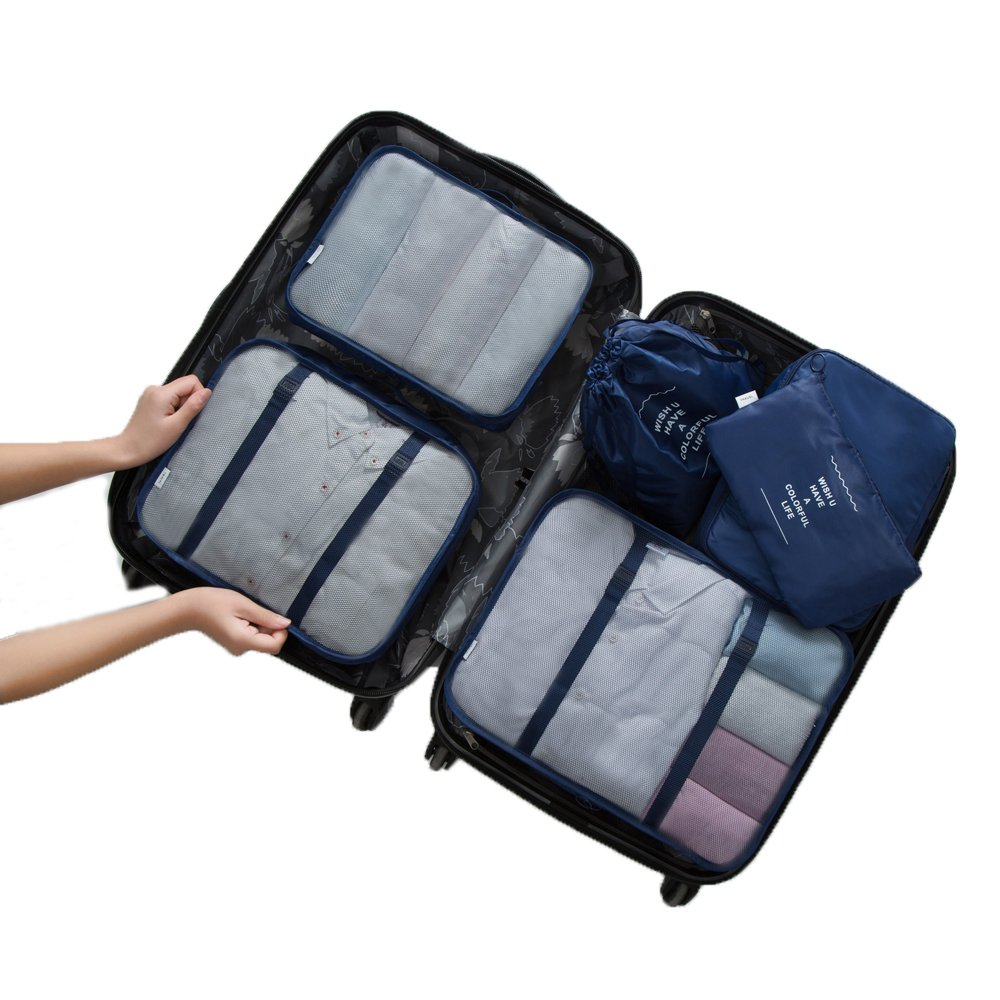 Travel Packing Cubes - 6 Sets Luggage Organiser Storage Bags Suitcase Compression Pouches (Navy)