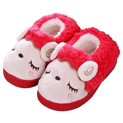 D.S.MOR Toddler Kids Sheep Fleece Cute Slipper House Shoes Bedroom Slippers