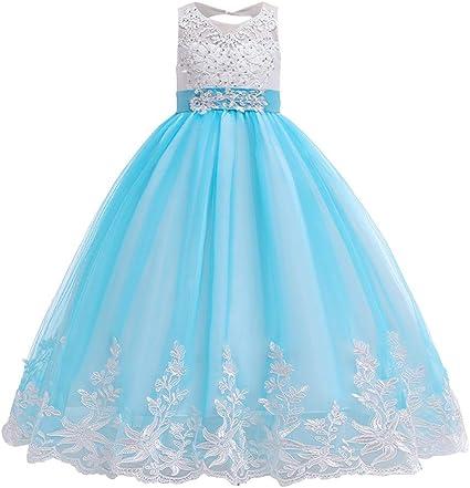 Dentelle en mousseline de soie fleur fille robe enfants princesse Pageant mariage demoiselle d/'honneur Robes