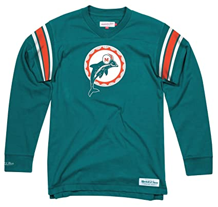 21495856a Image Unavailable. Image not available for. Color  Mitchell   Ness Miami  Dolphins NFL Men s Team Captain Long Sleeve Shirt