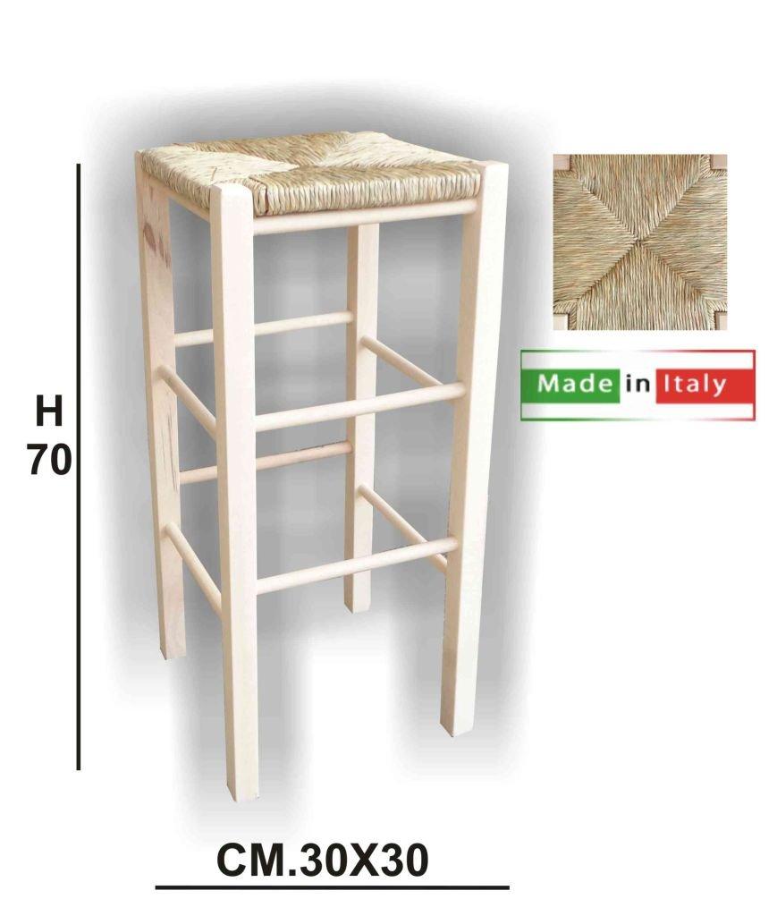 Sgabello sedia legno sedile paglia h.70 grezzo bar pub agriturismo ristorante GIAQUINTO SALVATORE