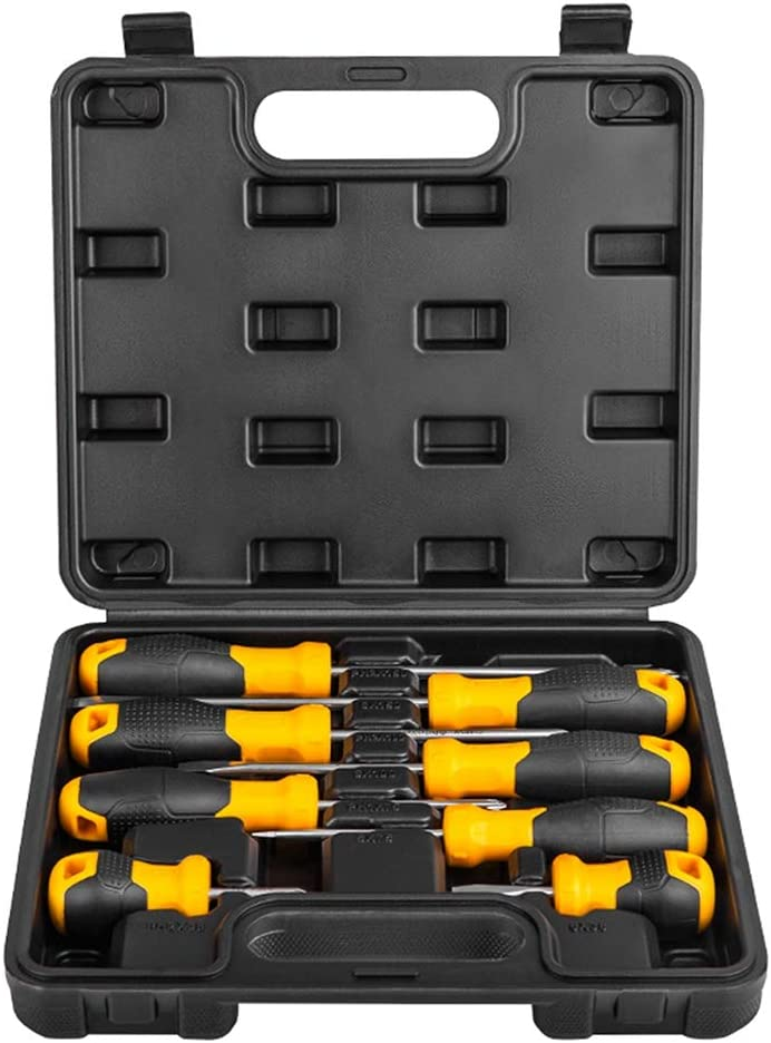 8 PCS Screwdriver Kit with Sturdy Toolbox Magnetic Screwdriver Set with Case Greyghost 4 Phillips and 4 Flat Screwdrivers