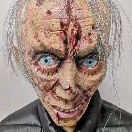 Máscara de látex de terror de Halloween, cara cicatrizada, máscara ...