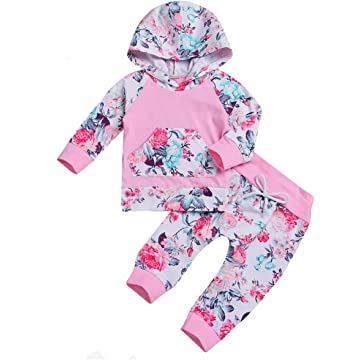 Newborn Infant Baby Girl Kids Clothes Fall Outfits Set Toddler Long Sleeve Floral Hoodie Sweatshirt + Pants Clothing Set