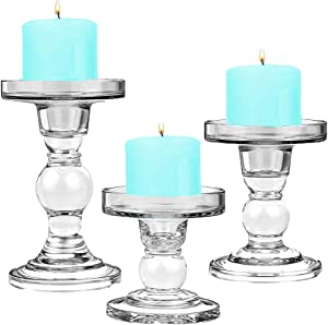 """CYS EXCEL Glass Candle Holders for 3"""" Pillar Candle and 3/4"""" Taper Candle, Wedding decoration, Candlestick Set of 3, H-3.5"""", 4.5"""" and 5.5"""" with 3.25"""" Diameter"""