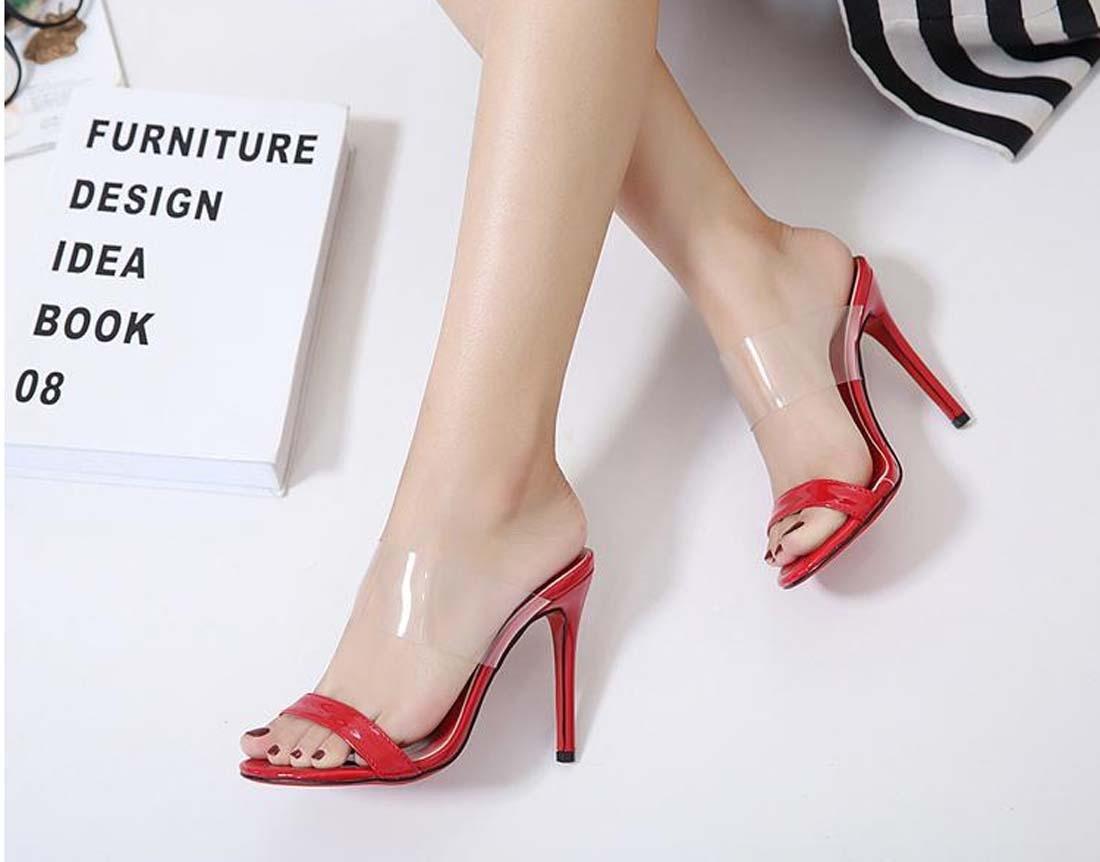 Komfort High Heels Hausschuhe Transparent Stilett Frau Schuhe Zum Frau Stilett Große Größe ROT d17b4e