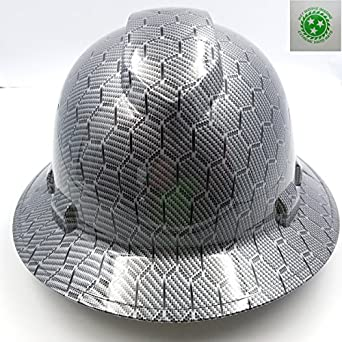 Wet Works Imaging Customized Pyramex Full BRIM BLACK METAL HEX CARBON FIBER  RAIDERS HARD HAT With Ratcheting Suspension