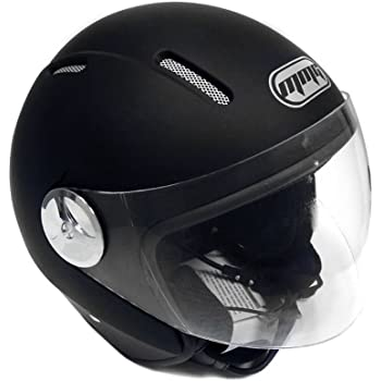 Motorcycle Scooter PILOT Open Face Helmet DOT - Matte Finish Black LARGE