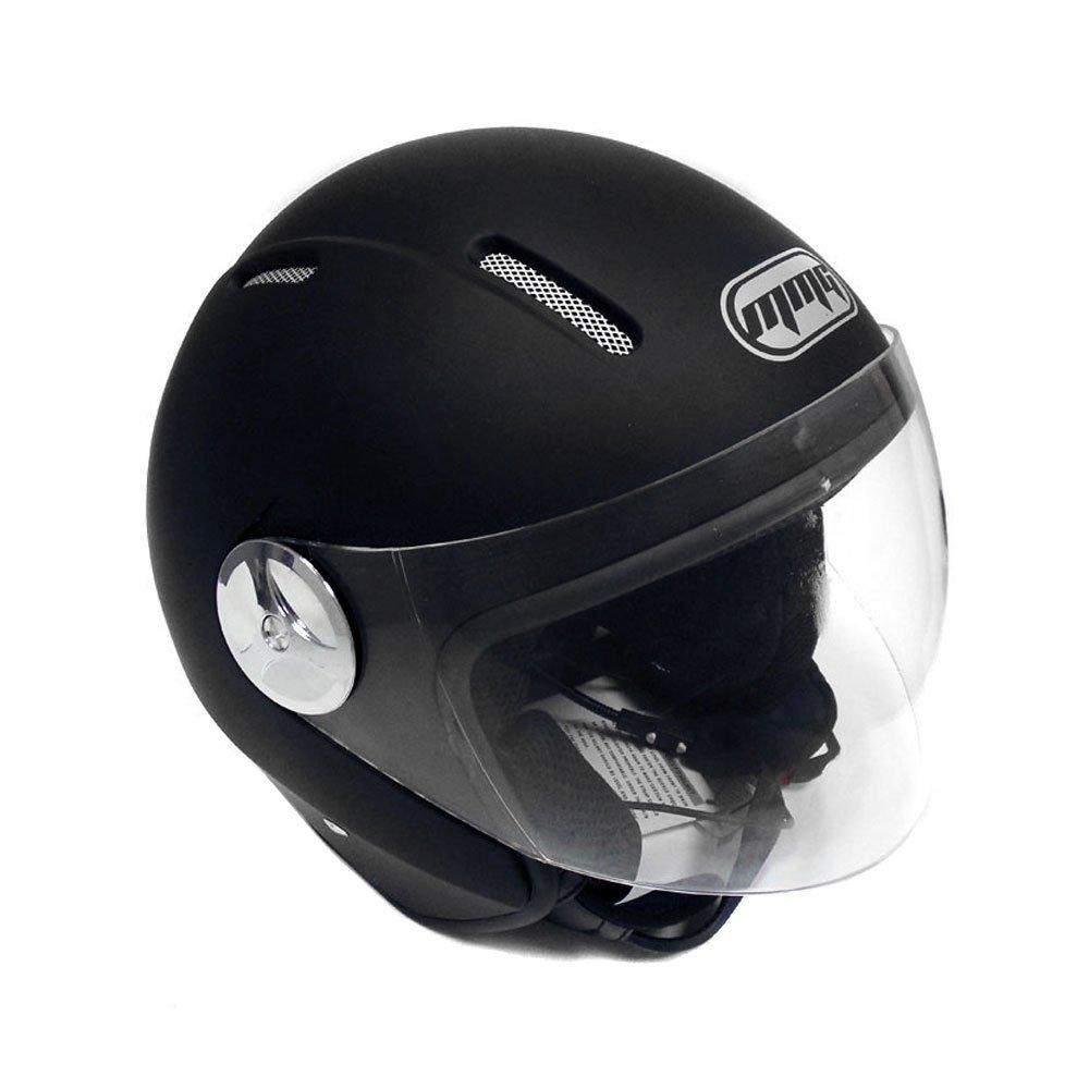 Motorcycle Scooter PILOT Open Face Helmet DOT - Matte Finish Black LARGE