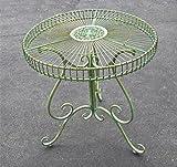 Round Garden Patio Table Antique Green - Iron